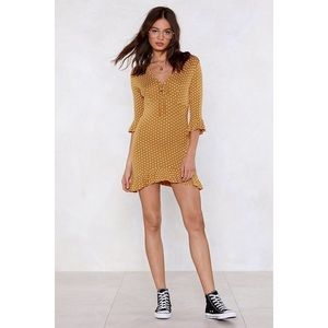 Nasty Gal | Mustard Polka Dot Tea Dress Size 4